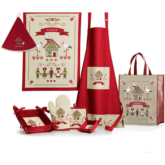 Kitchen Apron Hisla Red/Beige 72 x 85cm