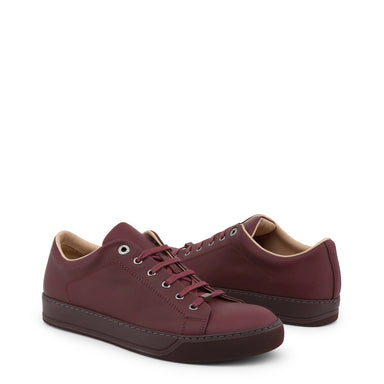 Lanvin Leather Trainers in Burgundy