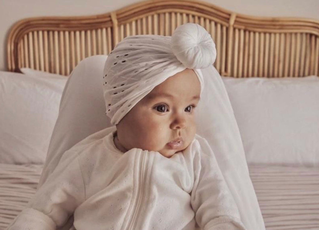 White Broderie Turban - Mae and Rae