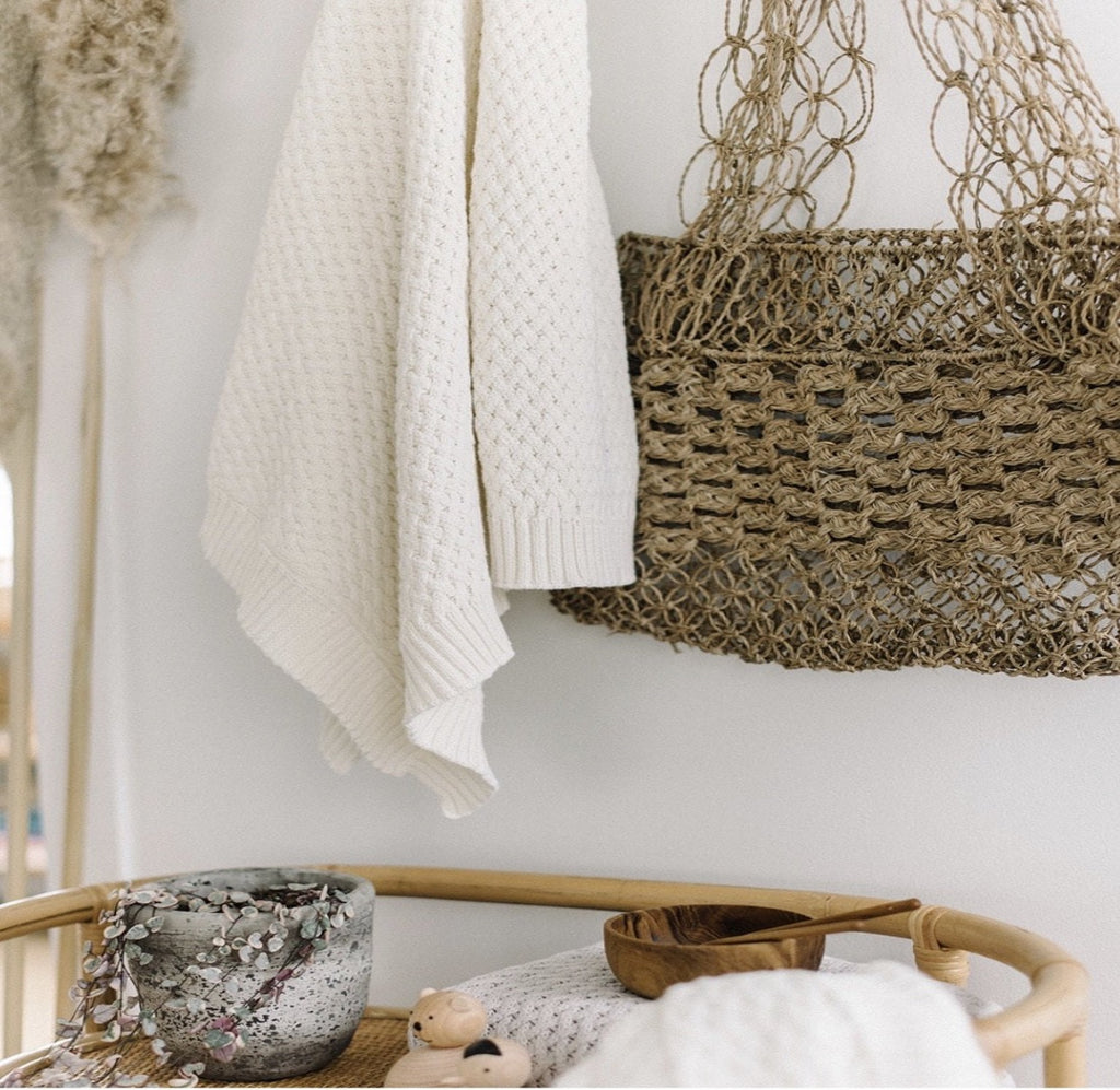 Diamond Knit Blanket - Cream