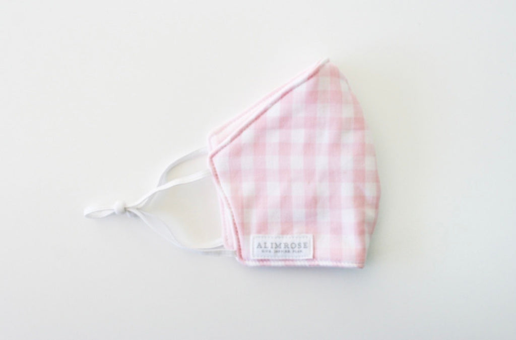 Youth Size 3 Layer Face Mask - Gingham Pink