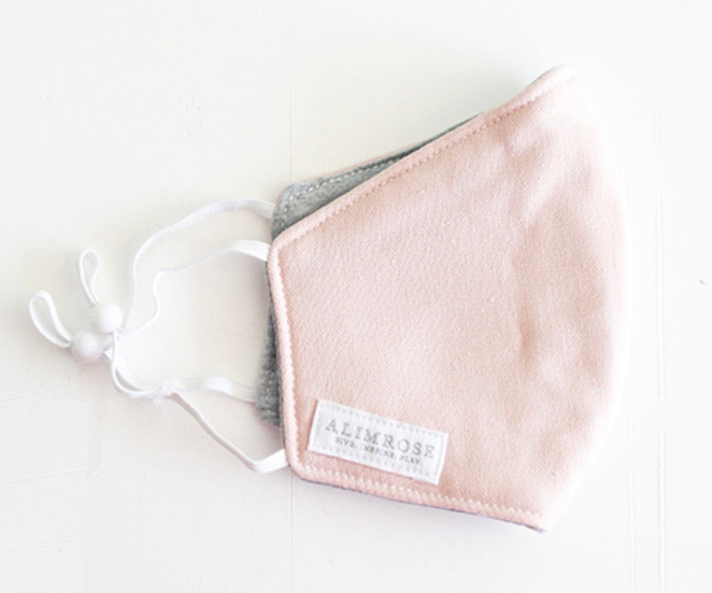 Youth  3 Layer Face Mask - Pink Linen
