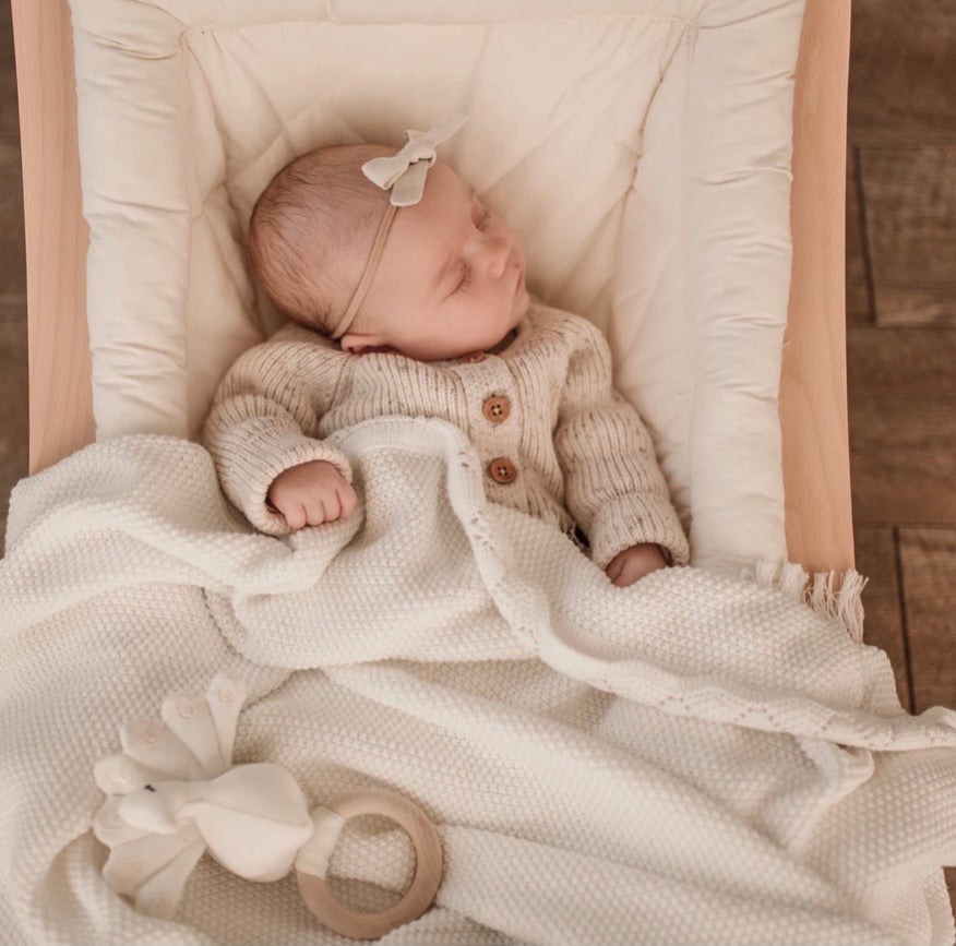Ziggy Lou Heirloom Knit Blanket - Milk
