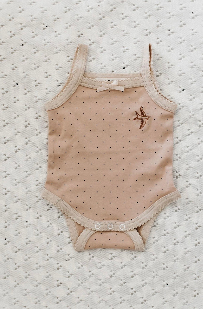 Piper Bug Frilly Singlet - Peach dotty