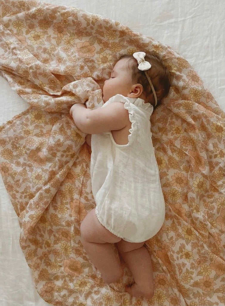 Peach Bloom Bamboo Swaddle