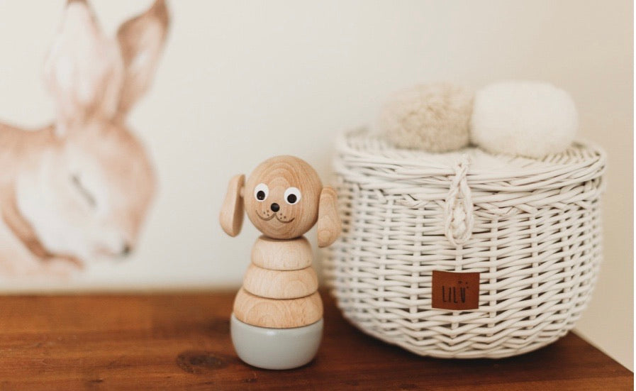 Wooden dog stacking puzzle