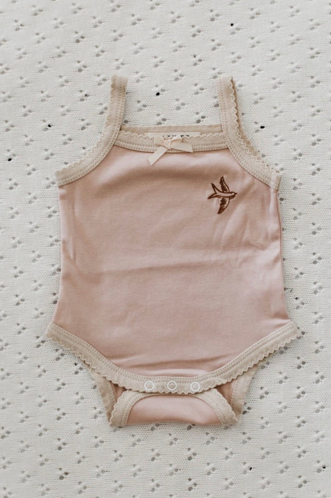 Piper Bug Frilly Singlet Romper - Ribbed Blush