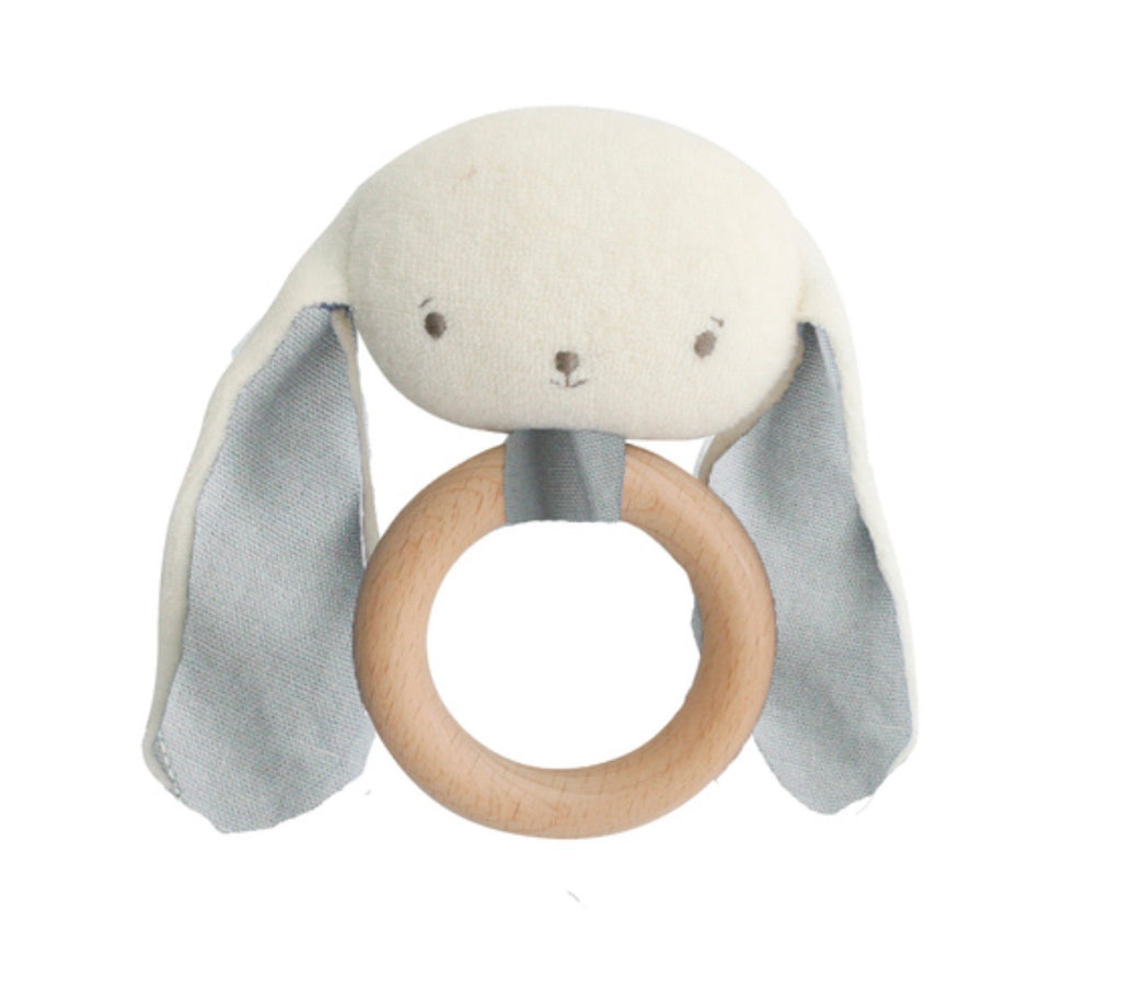 Baby Bunny Teether & Rattle - Grey