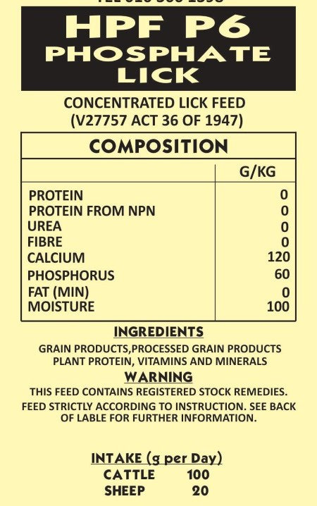 Lick P6 Phosphate no Diatoms Meal 25kg