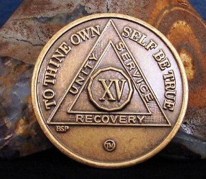 15 year 12 step recovery medallion aa na chip