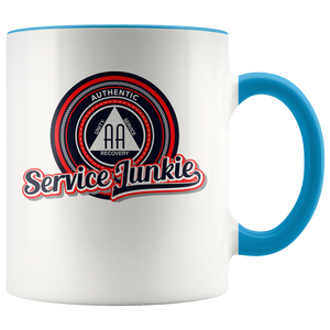 """Authentic AA Service Junkie"" Alcoholics Anonymous Coffee Mug blue"