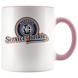 """Authentic NA Service Junkie"" Narcotics Anonymous Coffee Mug pink"
