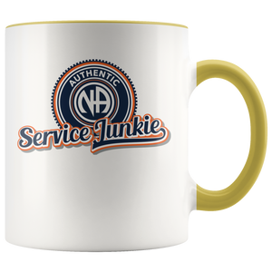 """Authentic NA Service Junkie"" Narcotics Anonymous Coffee Mug yellow"