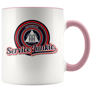 """Authentic AA Service Junkie"" Alcoholics Anonymous Coffee Mug pink"