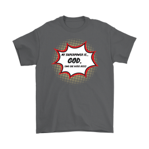 """My Superpower is God"" 12-step recovery t-shirt - charcoal"