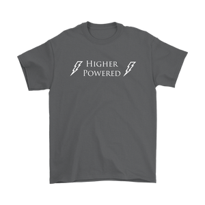 """Higher Powered"" recovery theme shirt gray"