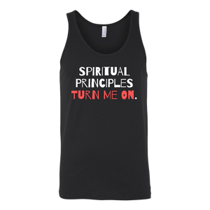"""Spiritual Principles Turn Me On."" Recovery-Themed Tank Top - Black"