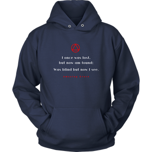 """Amazing Grace"" Alcoholics Anonymous Original Unisex Hoodie - Navy Blue"