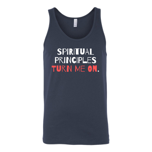 """Spiritual Principles Turn Me On."" Recovery-Themed Tank Top - Navy"