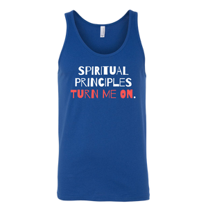 """Spiritual Principles Turn Me On."" Recovery-Themed Tank Top - Blue"