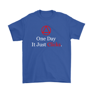 """AA One Day It Just Clicks"" Alcoholics Anonymous Logo T-shirt"