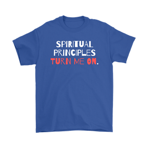 """Spiritual Principles Turn Me On."" Unisex Recovery-Theme Tee - Blue"
