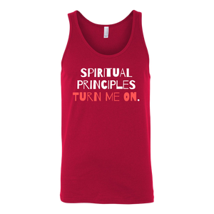 """Spiritual Principles Turn Me On."" Recovery-Themed Tank Top - Red"