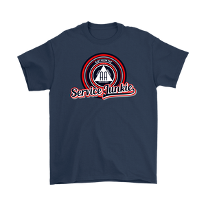 """Authentic AA Service Junkie"" Alcoholics Anonymous T-shirt navy"