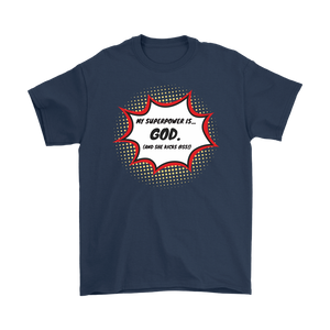 """My Superpower is God"" 12-step recovery t-shirt - navy"