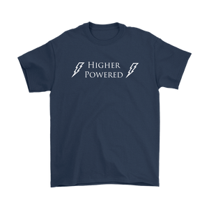 """Higher Powered"" recovery theme shirt navy"