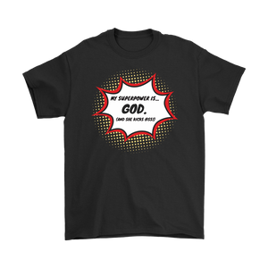 """My Superpower is God"" 12-step recovery t-shirt - Black"