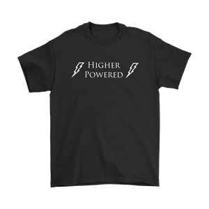 """Higher Powered"" recovery theme shirt black"