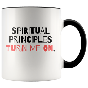 """Spiritual Principles Turn Me On."" 12-step coffee mug - Black"