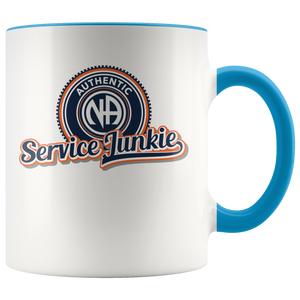 """Authentic NA Service Junkie"" Narcotics Anonymous Coffee Mug blue"