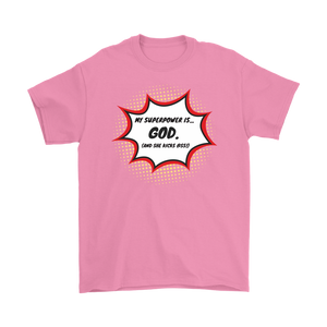 """My Superpower is God"" 12-step recovery t-shirt - pink"