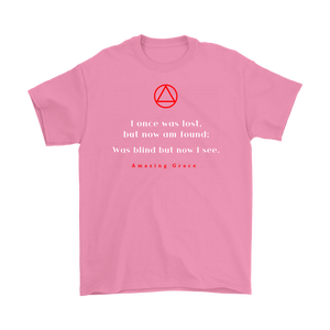 """Amazing Grace"" Original Alcoholics Anonymous AA Unisex Tshirt - Pink"