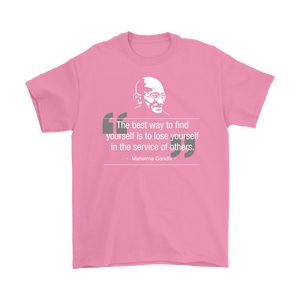"Mahatma Gandhi ""Find Yourself in the Service of Others"" Recovery & Service-Themed Unisex Tee"