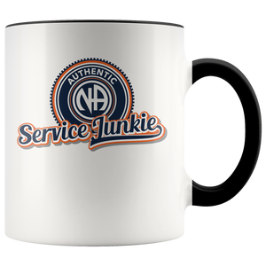"""Authentic NA Service Junkie"" Narcotics Anonymous Coffee Mug black"
