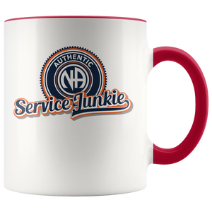 """Authentic NA Service Junkie"" Narcotics Anonymous Coffee Mug red"