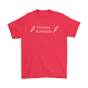 """Higher Powered"" recovery theme shirt red"