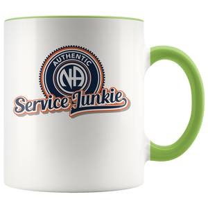 """Authentic NA Service Junkie"" Narcotics Anonymous Coffee Mug green"