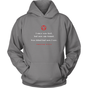 """Amazing Grace"" Alcoholics Anonymous Original Unisex Hoodie - Grey"