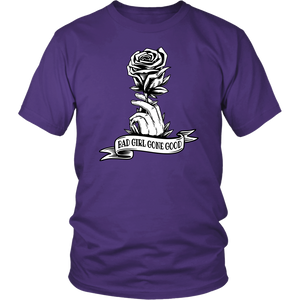 """Bad Girl Gone Good"" purple women's t-shirt is the perfect unique recovery gift!"