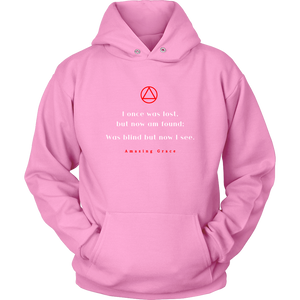"""Amazing Grace"" Alcoholics Anonymous Original Unisex Hoodie - Pink"
