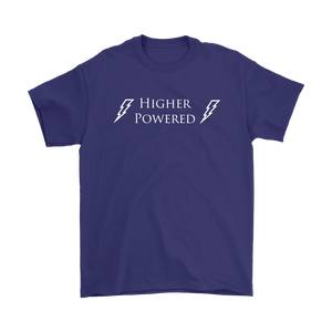 """Higher Powered"" recovery theme shirt purple"