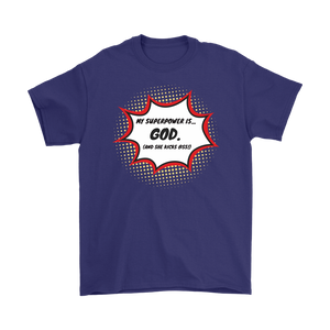 """My Superpower is God"" 12-step recovery t-shirt - purple"
