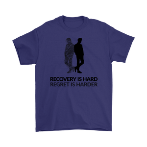 """Recovery is hard, regret is harder"" original unisex tee - Purple"