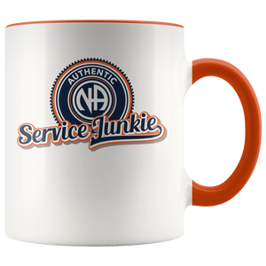 """Authentic NA Service Junkie"" Narcotics Anonymous Coffee Mug orange"