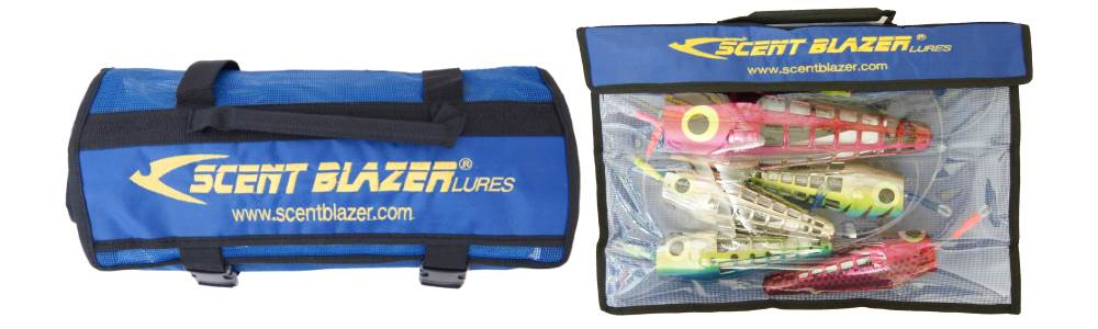 Tackle lure bags and tackle swags used in game fishing.