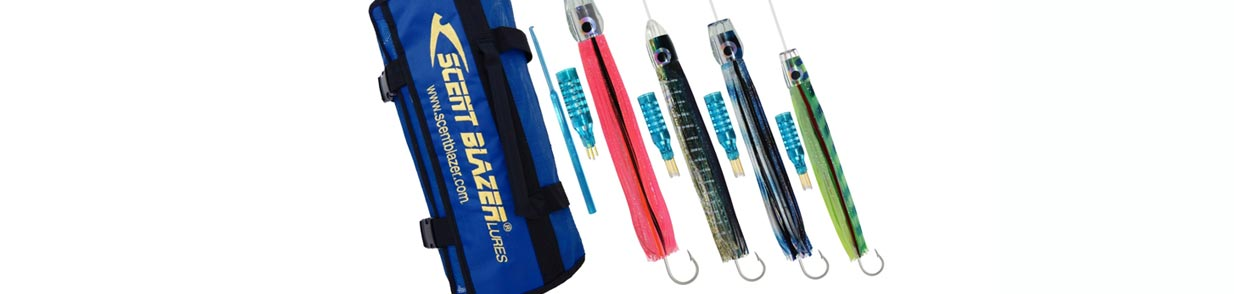 Skirted trolling lure rigged pack with swag bag and teaser.